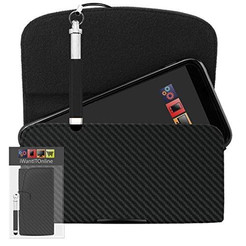 IWIO Kohlefaser Schwarz PU Seitentasche aus Leder Abdeckung Holster mit Gürtelschlaufe Clip und Magnetverschluss Enthält Schwarz Wiederziehbar Tip Stylus Stift für LG Optimus LU6200 LTE
