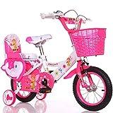 XSSD002 Stilvolles Und Einfaches Fahrrad, Junge Und Mädchen Fahren Fahrrad, Persönliches Fahrrad Der Kindheit, 2-9-Jähriges Baby Hilfsradfahrrad Rad,Rosa,110 cm