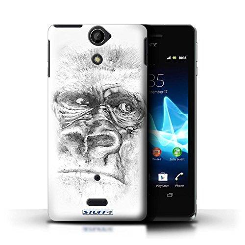 Kobalt® Imprimé Etui / Coque pour Sony Xperia V/LT25i / Lion conception / Série Dessin Croquis Gorille / Singe