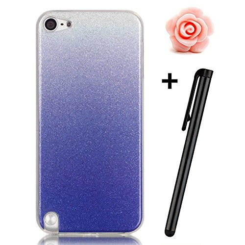 Toyym - Cover in poliuretano termoplastico, anti-graffio, ultra sottile, flessibile, trasparente con brillantini, per Apple iPhone SE/5S/5 + 1 pennino capacitativo + 1 tappo anti polvere a forma di fi Color#7
