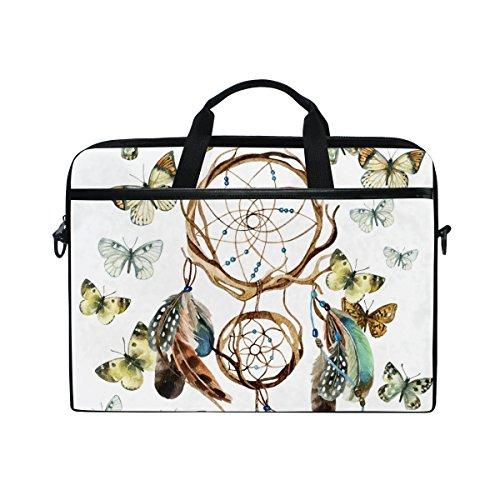 Ahomy atrapasueños Mariposa Plumas 14 – 15,4 Pulgadas Multifuncional Tela Impermeable portátil Bolsa maletín Bandolera Bandolera