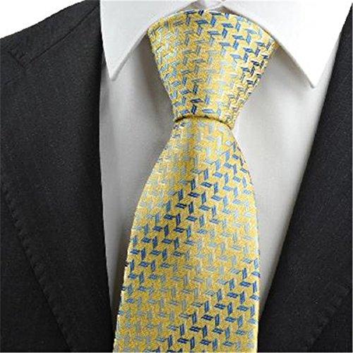 gelb - goldene blauen diamanten muster männer krawatte krawatte (Diamant-muster-krawatte)