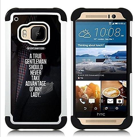 HTC One M9 /M9s / One Hima - 3 en 1 coloré lourd Imprimé Duty polycarbonate (PC) et Soft Black Gel de couverture Silicone Case (Gentleman Advantage Motivational)
