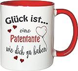 WarmherzIch Becher Tasse Glück ist… Patentante Kaffee Kaffeetasse liebevoll Bedruckt BFF Beste Freundin Schwester Weiß-Rot