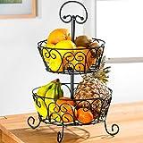 Obstkorb Elegance, Zweifacher Obstkorb aus Metall Obst-Aufbewahrung schwarz 2 stöckig Küche Esstisch