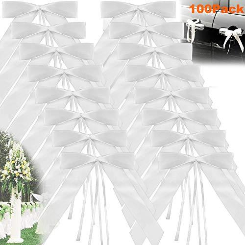ANYUKE 100 Autoschleifen Hochzeit Antennenschleifen Weiß Autoschmuck Dekoration für Besondere Anlässe Feste Hochzeit