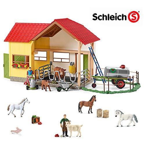 SCHLEICH - Bauernhof mit 3 Pferden, Bauer mit Ziege und Zubehör