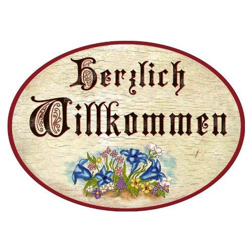 schenkidee - Holz Türschild im Antik Design Motiv HERZLICH WILLKOMMEN (Ø 18 cm) ()