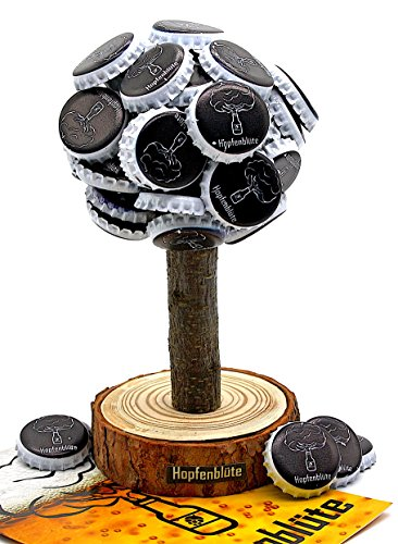 HOPFENBLÜTE ® - Magnetbaum Holz - Männer Geschenk Geburtstag - Partygeschenk - Bis zu 60 Kronkorken - Magnetbaum - Bier