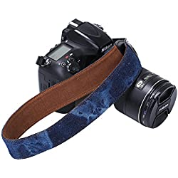 Beaspire Correa de Hombro Cuello Ajustable de Algodón Suave para Cámara Réflex DSLR Canon Nikon Pentax Sony (Correa-08 Azul)