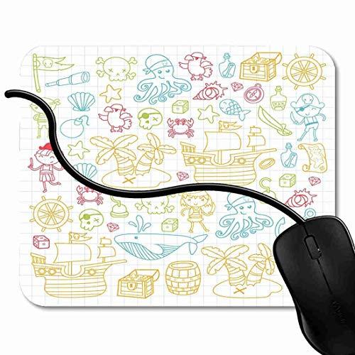 Mauspad Kinder spielen Piraten Jungen und Mädchen Kindergarten Schule Vorschule Halloween Party Treasure Island Rutschfeste Gummi Basis Mouse pad, Gaming mauspad für Laptop, Computer 1X1109 (Halloween Computer-spiele Kindergarten)