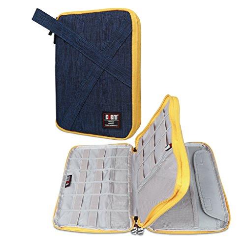 BUBM Kopfhörer doppelte Schichten handliches Reise Gadget Organiser, Elektronik Zubehör Tasche/Akku Ladegerät Schutzhülle für iPad Mini und Tablet mit Griff Grau groß