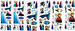 6 x Sticker Sheets - Ideal for Party Bags - Plants Vs Zombies, Angry Birds, Ben 10, Smurfs, Spiderman, Disney Princess, Frozen Stickers Elsa Stickers (Frozen)