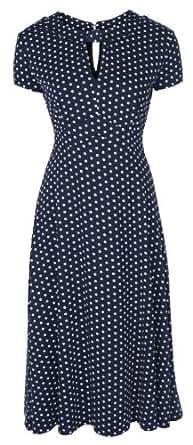 Lindy Bop 'Juliet' Classy Blue Polka Dot Vintage WW2 Landgirl 1940s 1950s Pinup Retro Tea Dress (24)
