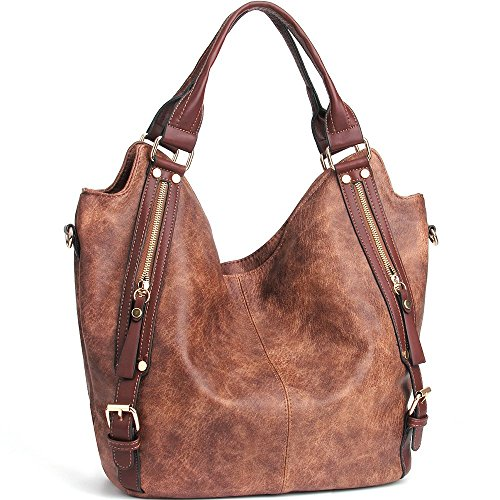 iYaffa Handtaschen Damen Taschen Schultertaschen Umhängetaschen Handtaschen für Frauen PU Leder Tote Hobo Taschen Damen Henkeltaschen Groß (L:31CM * H:36CM * W:15CM) Kaffee (Leder-frauen-handtaschen)
