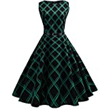 Kleider Damen Dasongff Frauen Abendkleid Elegant Cocktailkleid Kleider Vintage Kleid Mid-Calf Partykleid Plaid Sleeveless Kleider Swing Kleid Minikleid (S, Grün)