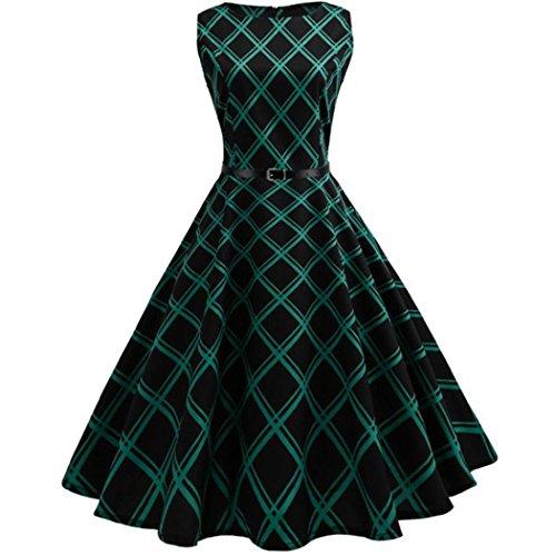 Kleider Damen Dasongff Frauen Abendkleid Elegant Cocktailkleid Kleider Vintage Kleid Mid-Calf Partykleid Plaid Sleeveless Kleider Swing Kleid Minikleid (M, Grün) (1950er-jahre-t-shirts)