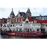 Estación de tren de Ámsterdam Diy pintura al óleo by números Europa paisaje pintura acrílica pintura de pared regalos únicos digitales 40X60Cm sin marco