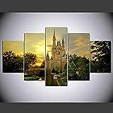 Relovsk Fünf leinwand gemälde Gedruckt 5 Stücke Cinderella Castle Leinwand Dekoration Ölgemälde Kunst Wanddruck Ebay_40x60cmx2 40x80cmx2 40x100cmx1 Frame