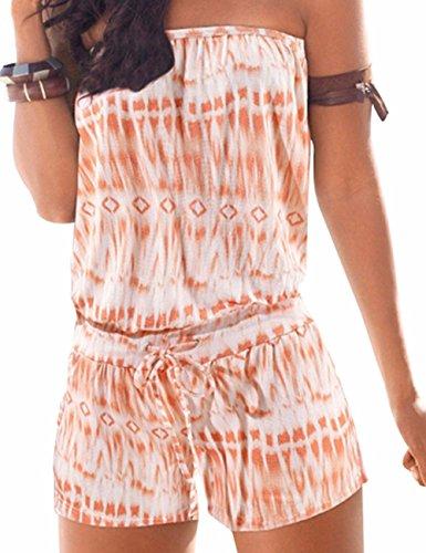 Emma Damen Strapless tr?gelos weg von der Schulter kurzer Overall Sexy Sommer Strand mit Druck Jumpsuits Rompers(OR,M)