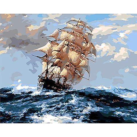 KAYI Voilier sur la mer Peinture à l'huile par numéro de kit - Kits de peinture à l'huile de bricolage pour adultes, juniors, enfants - Artisanat artisanal Peinture Décoration intérieure