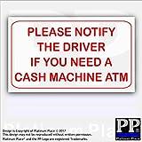 1x Veuillez Informent pilote SI vous avez besoin d'une Cash machine Atm-red/White-external Taxi, Mini, Cab, DE L'Argent, banque, machine, point, achats, Magasins, autocollant, avis, DE signer, Avertir