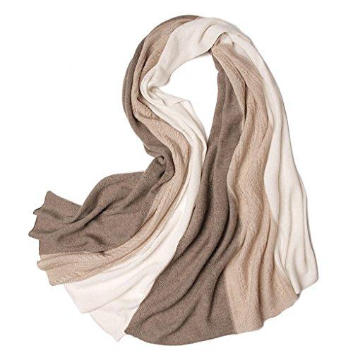 Prettystern - sciarpa 100% cashmere donna calda e morbida morbidissima in tricot color crema beige taupe maglia modello