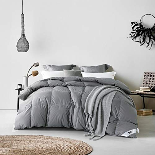 Umi. by Amazon - Gänsedaunendecke Luxus Daunendecke 135x200 Winterbettdecke Daunen Bettdecke Steppdecke Daunen Decke Grau