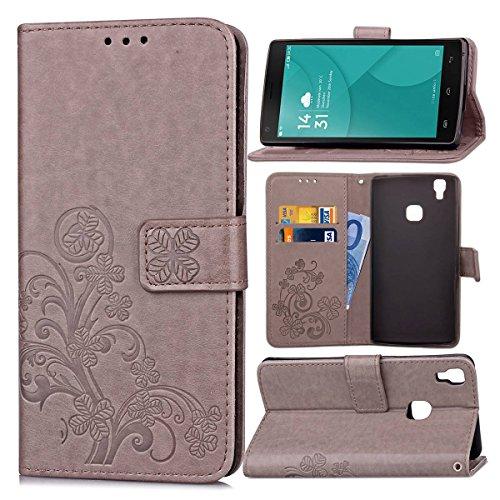 Guran® PU Ledertasche Case für Doogee X5 Max / X5 Max Pro Smartphone Flip Cover Brieftasche und Stent Funktionen Hülle Glücksklee Muster Design Schutzhülle - Grau
