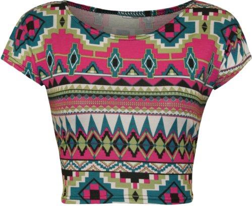 WearAll - Imprimé crop t-shirt top à manches courts - Hauts - Femmes - Tailles 36 à 42 Rose Aztec