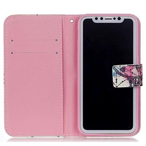 iPhone X hülle, Voguecase Kunstleder Tasche PU Schutzhülle Tasche Leder Brieftasche Hülle Case Cover für Apple iPhone X(dreaming 04) + Gratis Universal Eingabestift Strohhut