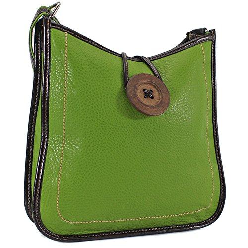 Ydezire® tracolla da donna in finta pelle con bottone, borsa da donna a tracolla (verde)