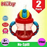 2 x Nuby No Spill 270ml Baby Toddler Kids Soft Sipper Flip-It Silicone