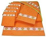 BETZ lot de 7 pcs pour bébé enfant:1 serviette de bain à capuche 90 x 90 cm 2 serviettes de toilette 50 x 70 cm 4 gants de toilette 100% coton HIBOUX couleur orange