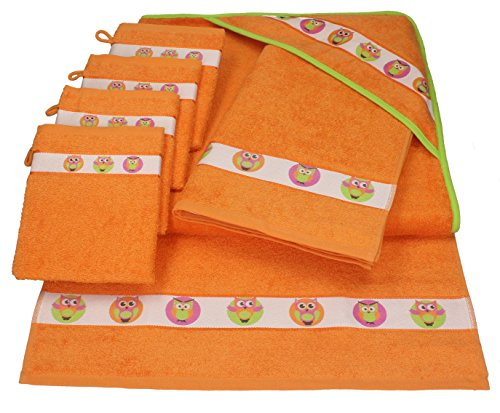 Betz 7 tlg Handtuch Set Kinder Baby 1 Kapuzen Kinderbadetuch 2 Kinderhandtücher 4 Waschhandschuhe Kapuzenhandtuch Kapuzenbadetuch Kapuzentuch 100% Baumwolle Eule Farbe orange