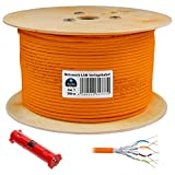 250m cat 7 HB Digital Basic Netzwerkkabel ✚ Abisolierer ■■■ LAN Verlegekabel cabel Kupfer PROFI S/FTP PIMF LSZH Halogenfrei orange RoHS-compliant cat. 7