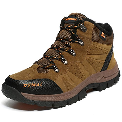 BETY Scarpe da Trekking Uomo Donna,Impermeabile Scarpe da Escursionismo Arrampicata Stivali in Pelle Marrone 41