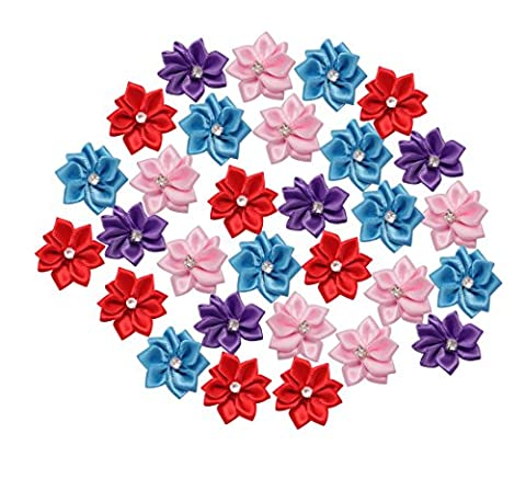 Homgaty 30Pcs Satin Ribbon Poinsettia Flowers Bows with Appliques Sewing Craft DIY Wedding Multi Color by Homgaty