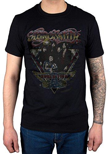 Aerosmith ufficiale World Tour Vintage Maglietta Rock Band Music Black L