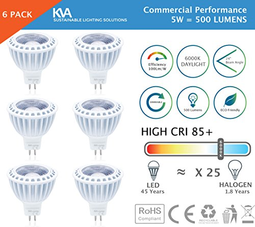 KVA LIGHTING - Lampadine a LED MR16, confezione da da 5 W = 500 lumen, US LED, luce diurna da 6000 6500 K, 12 V, MR16, GU5,3, dimmerabile alogena, leader sul mercato (fino al 40% di qualità superiore 100 lumen/ 1