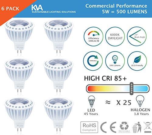 KVA LIGHTING - Lampadine a LED MR16, confezione da da 5 W = 500 lumen, US LED, luce diurna da 6000 6500 K, 12 V, MR16, GU5,3, dimmerabile alogena, leader sul mercato (fino al 40% di qualità superiore 100 lumen/ 1 W)