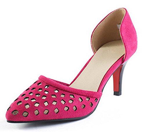 AgooLar Femme Couleur Unie Dépolissement à Talon Haut Tire Pointu Chaussures Légeres Cramoisi
