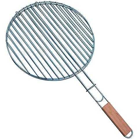 MSV 110.349 Grill redonda con la manija de madera de acero cromo / Madera Metal Diámetro 40 cm