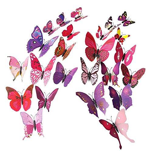 Bunt 3D Schmetterling Wand Sticker Wandaufkleber Kunststoff Schmetterlinge Wanddeko mit Dot Kleber Aufkleber für Hochzeit Weihnachten Familienfeier Diy Dekorationen (Rose Rot) (Plastik Im Freien Weihnachten Dekorationen)