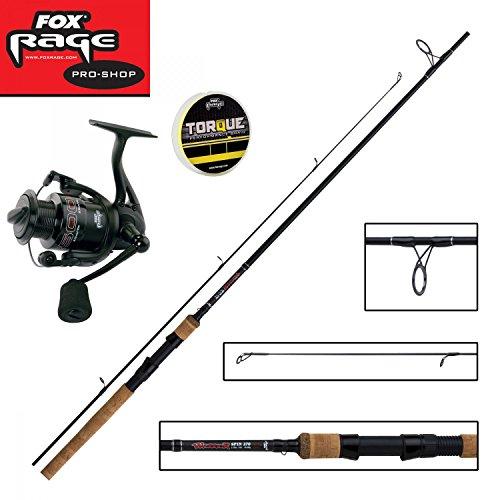 Fox Rage Set - Fox Warrior Spinnrute 2,70m 20-60g + Fox Warrior Rolle 2500 + 150m Fox Rage 0,14mm geflochtene Schnur gelb- Angelset zum Spinnfischen - Angelrute & Angelrolle zum Spinnangeln