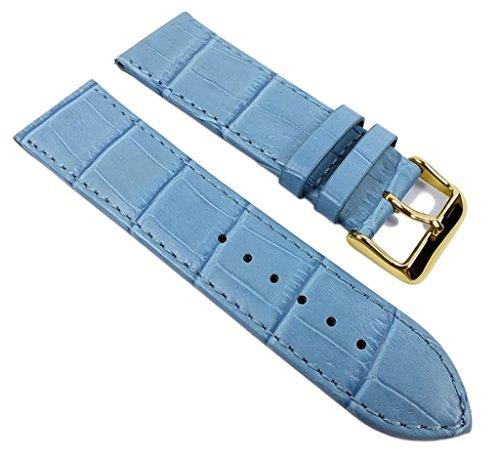 Big Fashion - Louis. Prägung Ersatzband Uhrenarmband Kalbsleder Band Blau 21927G, Anstoß:26 mm