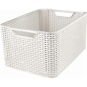 Curver 205496 Style Large Rectangular Storage Basket, Vintage White, 30 Litre