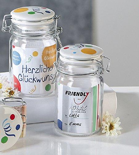 kglas Herzlichen Glückwunsch mit Keramik-Deckel - Geldgeschenk, Geschenkglas zum Befüllen ()