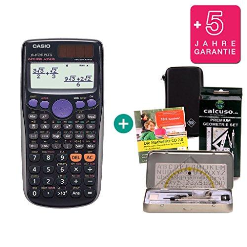 Streberpaket: Casio FX 87 DE Plus + Schutztasche + Lern-CD + Geometrie-Set + Erweiterte Garantie