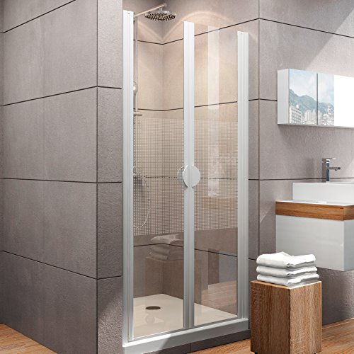 Schulte Duschkabine Pendeltür Nische Madrid, 80x180 cm, 5 mm Sicherheits-Glas Quattro, alpin-weiß, 2-teilige Duschtür
